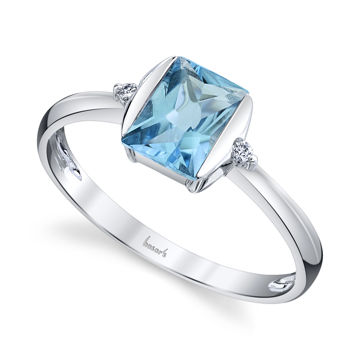 14kt White Gold Emerald Cut Blue Topaz and Diamond Ring