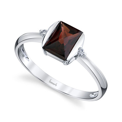 14kt White Gold Emerald Cut Pyrope Garnet and Diamond Ring