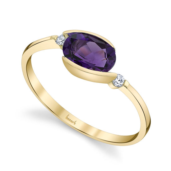14kt Yellow Gold Bypass Style Amethyst and Diamond Ring