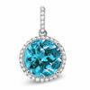 14kt White Gold Blue Zircon and Diamond Halo Pendant