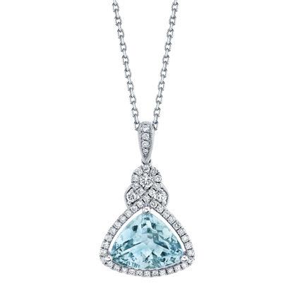 14kt White Gold Trillion Aquamarine and Diamond Halo Pendant