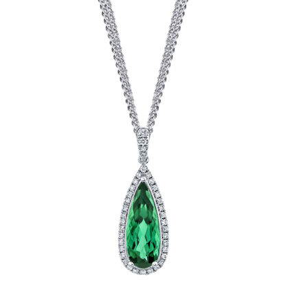 14kt White Gold Tear Drop Green Tourmaline and Diamond Halo Pendant