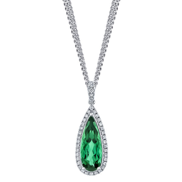 14kt White Gold Tear Drop Green Tourmaline and Diamond Halo Pendant