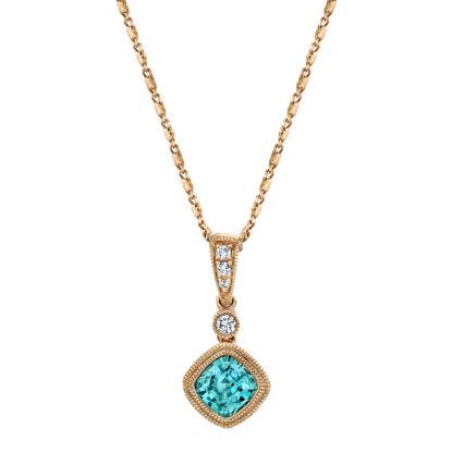 14kt Rose Gold Milgrained Bezel Set Blue Zircon and Diamond Pendant
