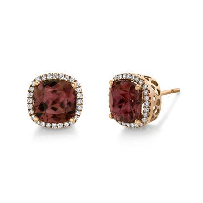 14kt Rose Gold Spice Zircon and Diamond Halo Stud Earrings
