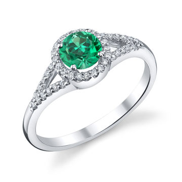 14kt White Gold Round Natural Emerald and Diamond Halo Ring