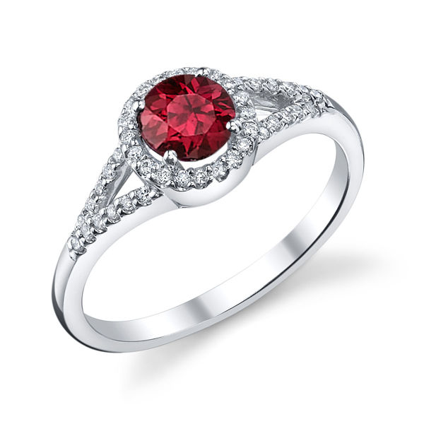 14kt White Gold Round Natural Ruby and Diamond Halo Ring