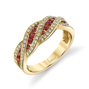 14kt Yellow Gold Ornate Natural Ruby and Diamond Ring