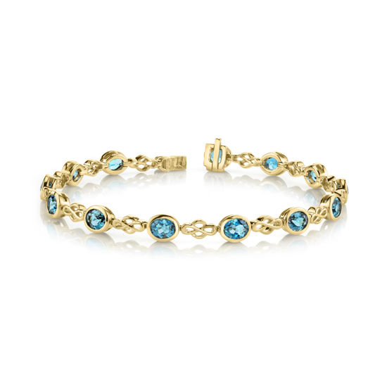14kt Yellow Gold Bezel Set Oval London Blue Topaz Bracelet