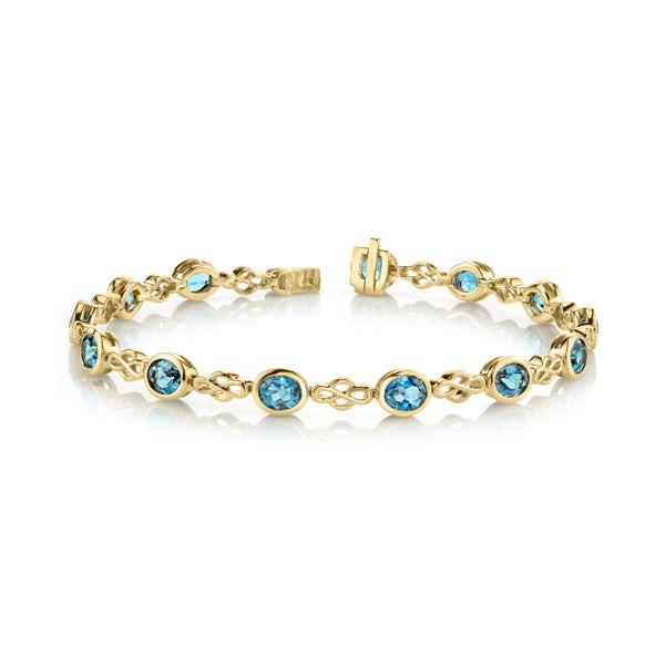 14kt Yellow Gold Bezel Set Oval London Blue Topaz Bracelet