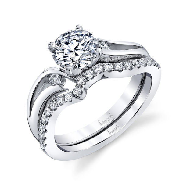 14kt White Gold Delicate Three Stone Diamond Engagement Ring