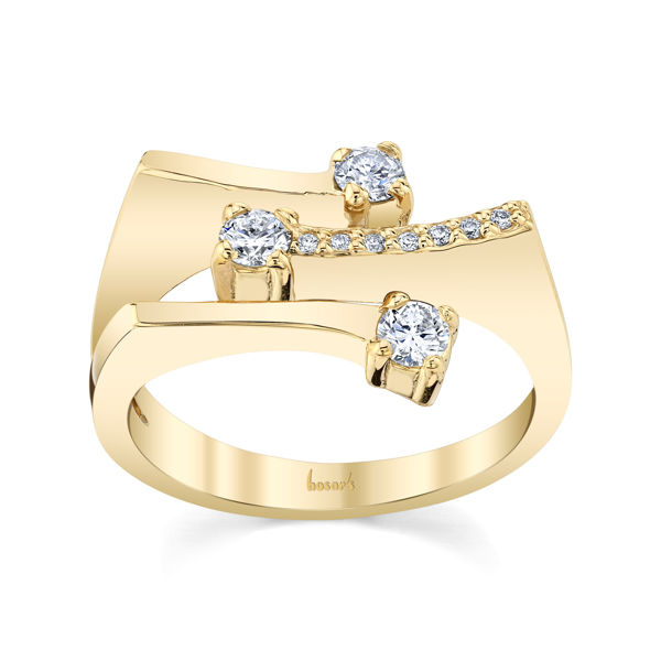 14kt Yellow Gold Scattered Bar Ring