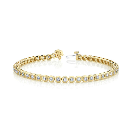 14kt Yellow Gold Cushion Linked Tennis Bracelet