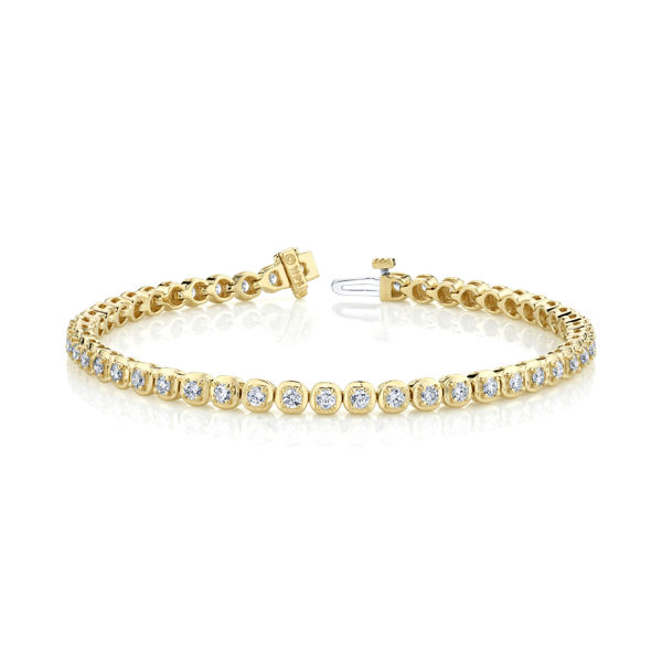 14kt Yellow Gold Cushion Linked Tennis Bracelet