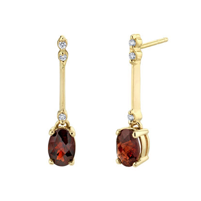 14kt Yellow Gold Oval Pyrope Garnet and Diamond Drop Earrings