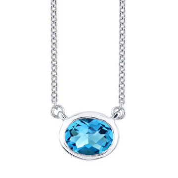 14kt White Gold Stationary Bezel Set Oval Blue Topaz Necklace