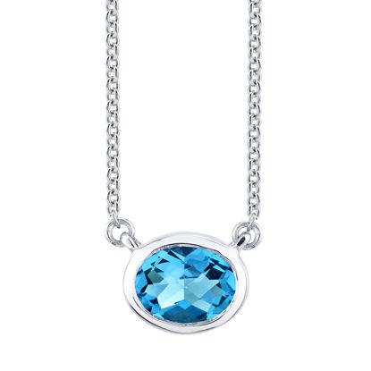 14kt White Gold Stationary Bezel Set Oval Blue Topaz Necklace