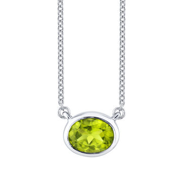 14kt White Gold Stationary Bezel Set Oval Peridot Necklace
