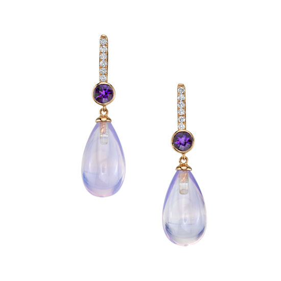 14kt Rose Gold Amethyst and Diamond Briolette Drop Earrings