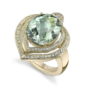 14kt Yellow Gold Prasiolite and Diamond Leaf Ring