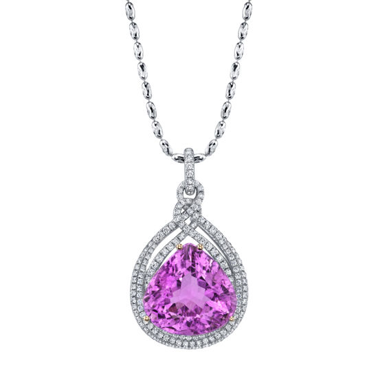 14kt White Gold One of a Kind Vibrant Pink Kunzite and Diamond Pendant