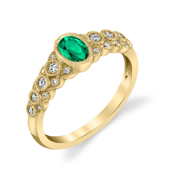 14kt Yellow Gold Bezel Set Emerald and Diamond Ring