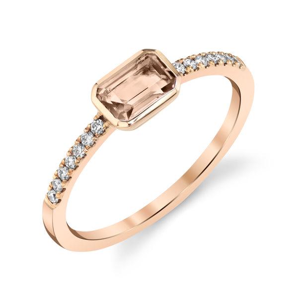 14kt Rose Gold Bezel Set Emerald Cut Morganite Stackable Ring