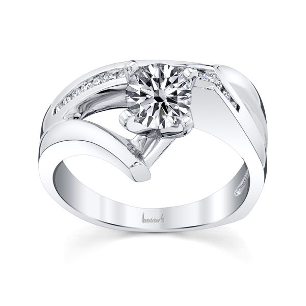 14kt White Gold Freeform Channel Set Diamond Engagement Ring