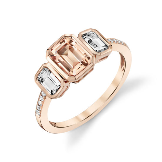 14kt Rose Gold Bezel Set Morganite and White Topaz Three Stone Ring with Diamond Accents