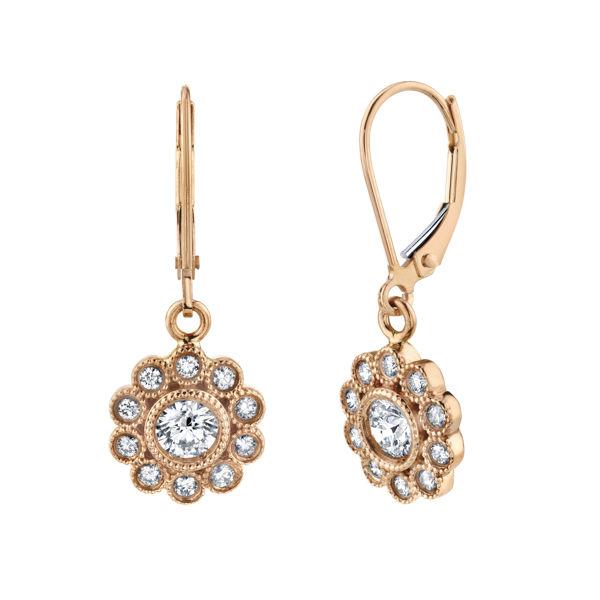 14kt Rose Gold Milgrained Floral Inspired Diamond Dangle Earrings