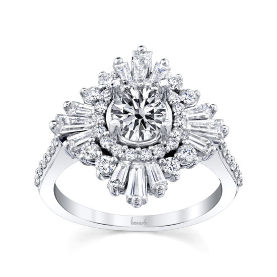 14kt White Gold Blooming Diamond Halo Engagement Ring