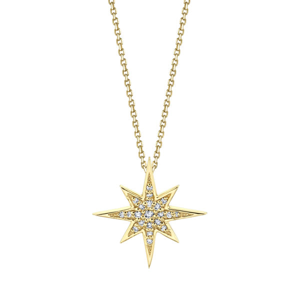 14kt Yellow Gold Diamond North Star Pendant