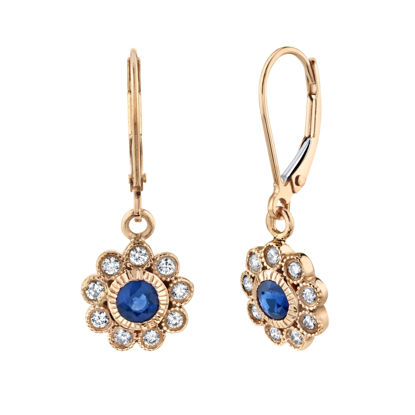 14kt Rose Gold Milgrained Floral Inspired Natural Sapphire and Diamond Dangle Earrings