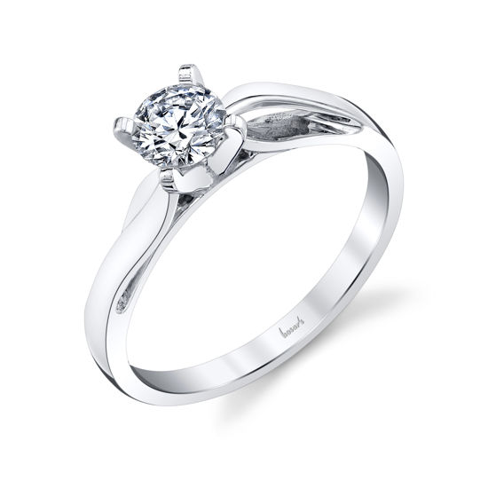 14kt White Gold Curved Solitaire Engagement Ring