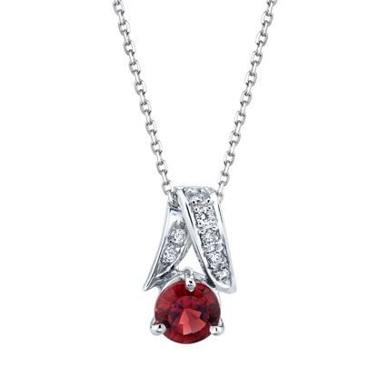 14kt White Gold Round Garnet and Diamond Pendant