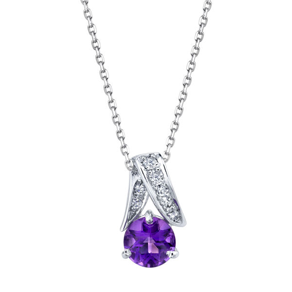 14kt White Gold Round Amethyst and Diamond Pendant
