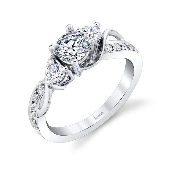14kt White Gold Vine-Inspired Three Stone Engagement Ring