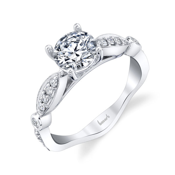 14kt White Gold Maruise and Dot Style Diamond Engagement Ring