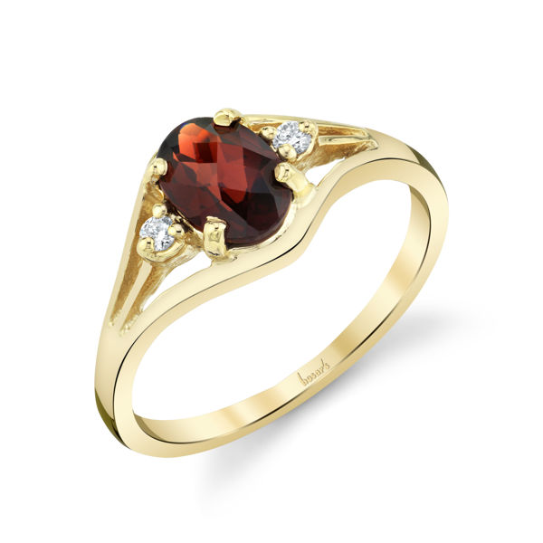 14kt Yellow Gold Oval Garnet and Diamond Ring
