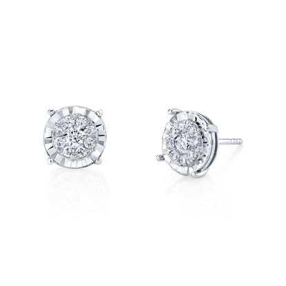 14kt White Gold Illusion Cluster Stud Earrings