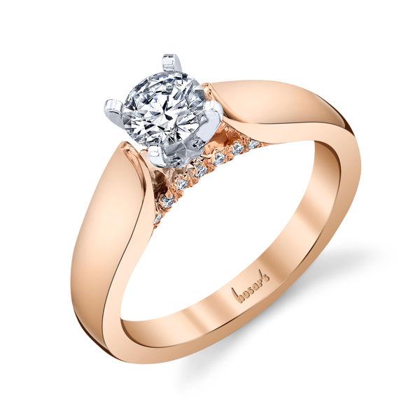 14kt Rose Gold Subtle Sparkle Solitaire Engagement Ring