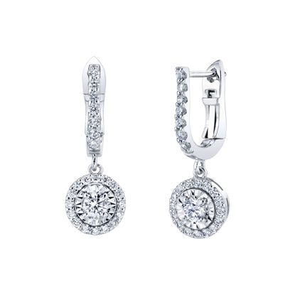14kt White Gold Diamond Illusion Halo Dangle Earrings