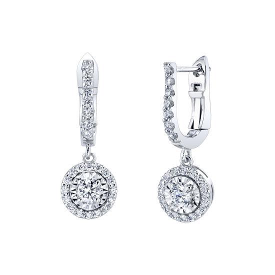 14kt White Gold Diamond Illusion Halo Dangle Earrings