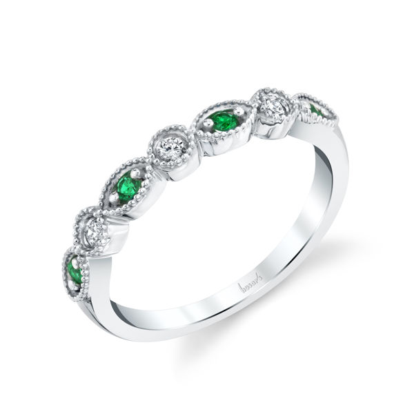 14kt White Gold Milgrained Marquise and Dot Emerald and Diamond Stackable Band