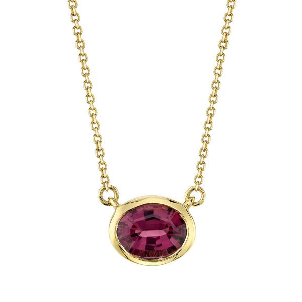 14kt Yellow Gold Stationary Bezel Set Oval Garnet Necklace
