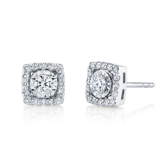 14kt White Gold Square Diamond Halo Illusion Stud Earrings