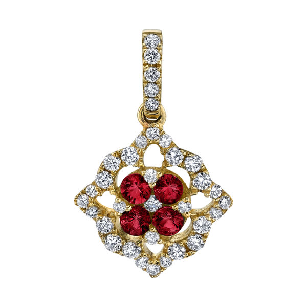 14kt Yellow Gold Venetian Inspired Natural Ruby and Diamond Pendant