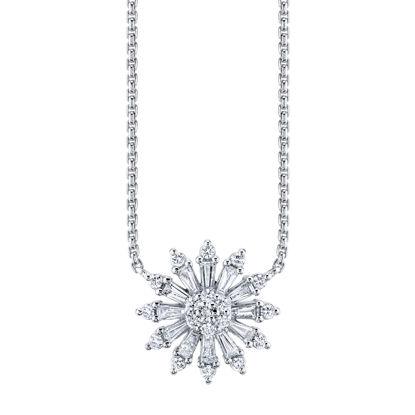 14kt White Gold Diamond Sunburst Necklace