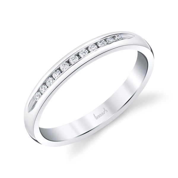 14kt White Gold Slender Diamond Channel Band