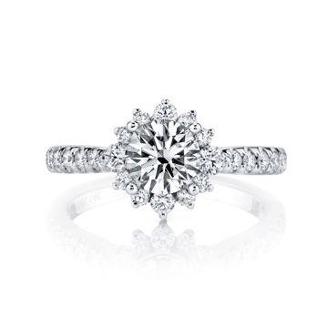 14kt White Gold Starburst Floral Diamond Halo Engagement Ring